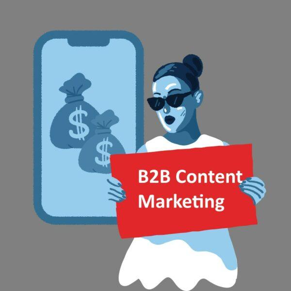 Frau mit Schild für B2B Content Marketing
