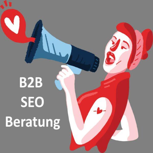 Frau mit megafon ruft B2B Seo Beratung.
