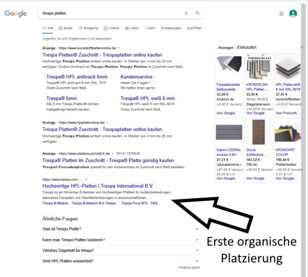 SERP's Übersicht für die erste Seite bei der Google Suche